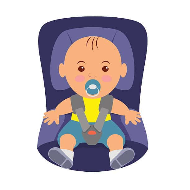 Toddler wearing a seatbelt in the car seat. Illustration of road safety in child car seat.