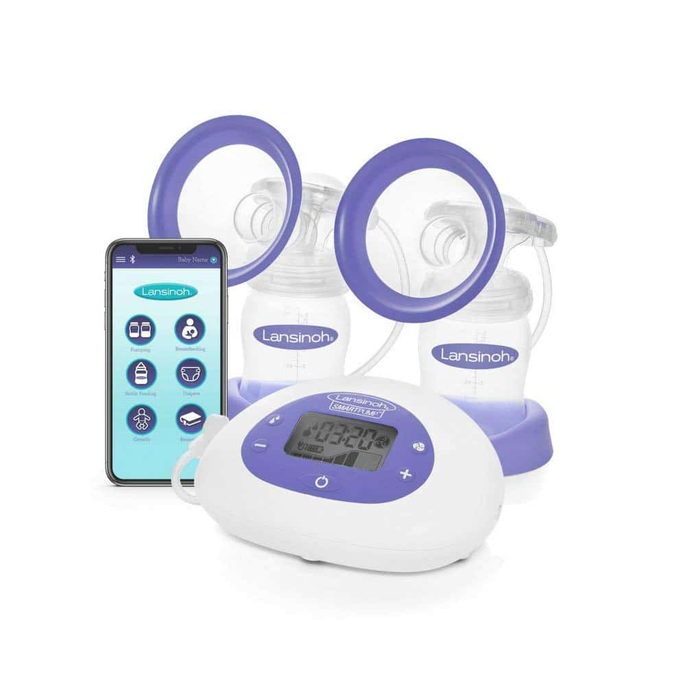 Lansinoh Smartpump Double Electric Breast Pump Connects to Lansinoh Baby App via Bluetooth Breast Pump Bra Compatible with Adjustable Suction Pumping Levels for Moms Comfort