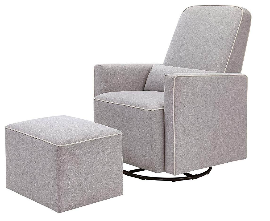 DaVinci Grey Olive Upholstered Swivel Glider