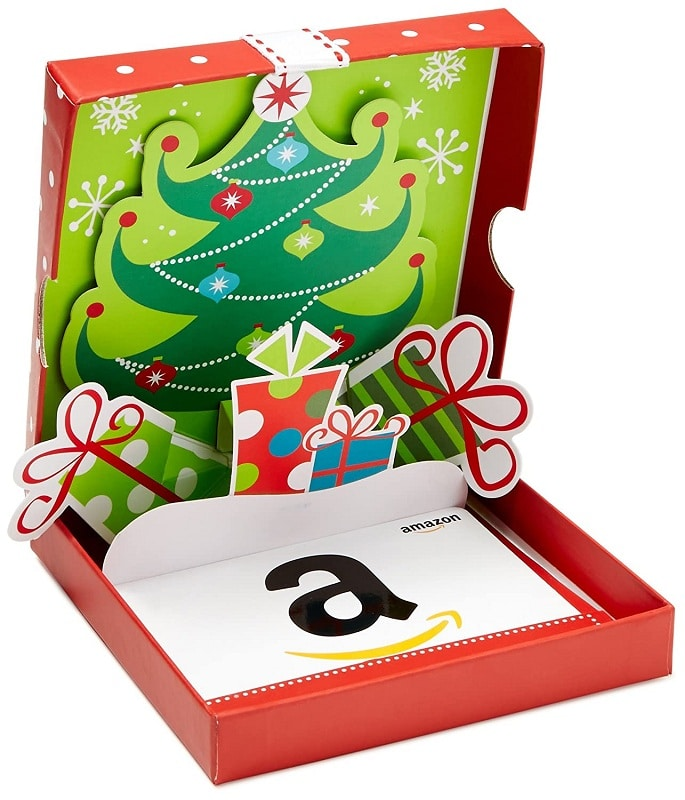 Amazon Dot com Gift Card in a Holiday Pop-Up Box
