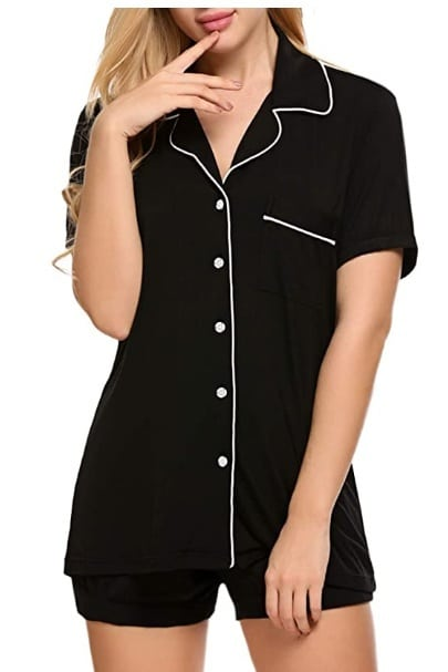 Ekouaer Pajamas Set Short Sleeve Sleepwear